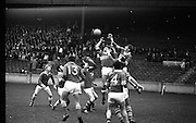 All Ireland Junior Football Final, Kerry v Wicklow...M. Keane (left) Kerry Full-Back and G. McCarthy (right) Kerry Right Full, assisted by J. Coughlan (4) in foreground, clear a high ball in front of their own goalmouth..14.09.1969.