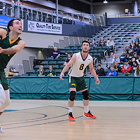 3rd year outside hitter Dalton Wolfe (9) of the Regina Cougars in action during the Men's Volleyball Home Game vs Trinity Western  on October 28 at the CKHS University of Regina. Credit Matt Johnson/Arthur Images