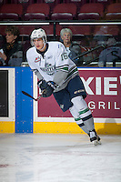 KELOWNA, CANADA - MARCH 18: Alexander True #16 of Seattle Thunderbirds warms up against the Kelowna Rockets on March 18, 2015 at Prospera Place in Kelowna, British Columbia, Canada.  (Photo by Marissa Baecker/Shoot the Breeze)  *** Local Caption *** Alexander True;