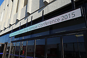 Labour Party Annual Conference<br /> Brighton<br /> 27-30 September<br /> Electronic sign at the entrance to the Brighton Centre conference hall.