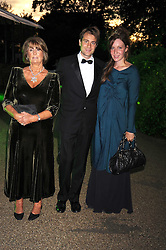 Left to right, LADY ANNABEL GOLDSMITH, BEN & KATE GOLDSMITH at the Royal Parks Foundation Summer Party hosted by Candy & Candy on the banks of the Serpentine, Hyde Park, London on 10th September 2008.