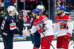 Jack Eichel of USA and Jakub Voracek of Czech Republic after the Ice Hockey match between USA and Czech Republic at Third place game of 2015 IIHF World Championship, on May 17, 2015 in O2 Arena, Prague, Czech Republic. Photo by Vid Ponikvar / Sportida