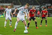 Sam Clucas of Swansea City during the EFL Cup match between Swansea City and Manchester United at the Liberty Stadium, Swansea, Wales on 24 October 2017. Photo by Andrew Lewis.