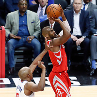 28 February 2018: Houston Rockets guard Chris Paul (3) takes a jump shot during the Houston Rockets 105-92 victory over the LA Clippers, at the Staples Center, Los Angeles, California, USA.