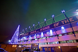 LIVERPOOL, ENGLAND - Monday, December 19, 2016: Neon letters spelling Goodison and a blue illuminated Christmas tree outside Everton's Goodison Park stadium before the FA Premier League match against Liverpool, the 227th Merseyside Derby, at Goodison Park. (Pic by David Rawcliffe/Propaganda)