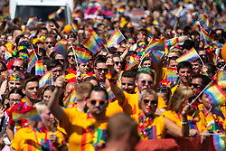 © Licensed to London News Pictures . 05/08/2018. Leeds, UK. Rainbow pride flags . Leeds Gay Pride parade through the Yorkshire city's centre . Leeds's annual Gay Pride festiva celebrates the city's LGBTQ+ life and culture . Photo credit: Joel Goodman/LNP