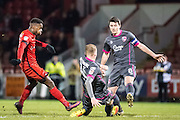 Morecambe midfielder Peter Murphy (8), Leyton Orient forward Gavin Massey (11)  during the EFL Sky Bet League 2 match between Leyton Orient and Morecambe at the Matchroom Stadium, London, England on 7 February 2017. Photo by Sebastian Frej.