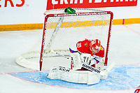 KAMLOOPS, CANADA - NOVEMBER 5: Daniil Tarasov #30 of Team Russia makes a save against the Team WHL  on November 5, 2018 at Sandman Centre in Kamloops, British Columbia, Canada.  (Photo by Marissa Baecker/Shoot the Breeze)