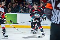 KELOWNA, CANADA - OCTOBER 19: Damon Severson #7 of the Kelowna Rockets makes a pass against the Prince George Cougars on October 19, 2013 at Prospera Place in Kelowna, British Columbia, Canada.   (Photo by Marissa Baecker/Shoot the Breeze)  ***  Local Caption  ***