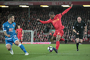 Georginio Wijnaldum (Liverpool) stops and turns to wrong foot Jack Wilshere (AFC Bournemouth) in the AFC Bournemouth penalty box during the Premier League match between Liverpool and Bournemouth at Anfield, Liverpool, England on 5 April 2017. Photo by Mark P Doherty.