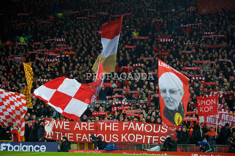 "LIVERPOOL, ENGLAND - Tuesday, January 31, 2017: Liverpool supporters' banner ""We are the famous, the famous Kopites"" on the Spion Kop during the FA Premier League match against Chelsea at Anfield. (Pic by David Rawcliffe/Propaganda)"