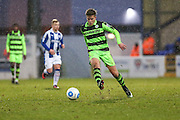 Forest Green Rovers Charlie Cooper(20) plays the ball forward during the FA Trophy 2nd round match between Chester FC and Forest Green Rovers at the Deva Stadium, Chester, United Kingdom on 14 January 2017. Photo by Shane Healey.