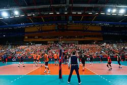 21-09-2019 NED: EC Volleyball 2019 Netherlands - Germany, Apeldoorn<br /> 1/8 final EC Volleyball / Centercourt view Onmisport De Voorwaarts