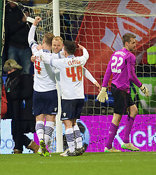 BOLTON, ENGLAND - Wednesday, February 4, 2015: Bolton Wanderers' Eiour Guojohnsen celebrates scoring the first goal against Liverpool during the FA Cup 4th Round Replay match at the Reebok Stadium. (Pic by David Rawcliffe/Propaganda)