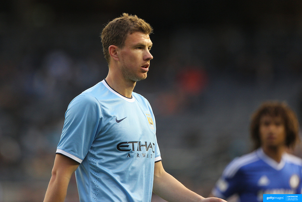 Edin Dzeko, Manchester City, in action during the Manchester City V Chelsea friendly exhibition match at Yankee Stadium, The Bronx, New York. Manchester City won the match 5-3. New York. USA. 25th May 2012. Photo Tim Clayton