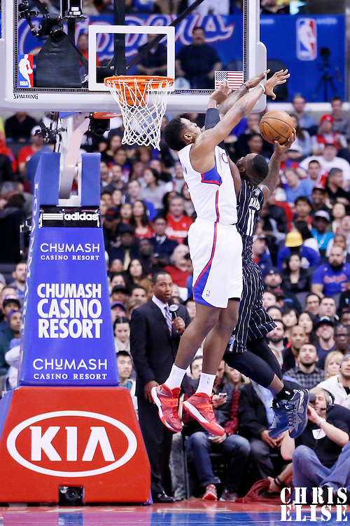 06 January 2014: Orlando Magic power forward Glen Davis (11) is blocked by Los Angeles Clippers center DeAndre Jordan (6) during the Los Angeles Clippers 101-81 victory over the Orlando Magic at the Staples Center, Los Angeles, California, USA.