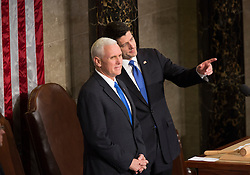 United States Vice President Mike Pence (left) and Speaker of The House of Representatives Paul Ryan (right) chat before the start an address by U.S. President Donald J. Trump to a joint session of Congress on Capitol Hill in Washington, DC, USA, February 28, 2017. Photo by Chris Kleponis/CNP/ABACAPRESS.COM