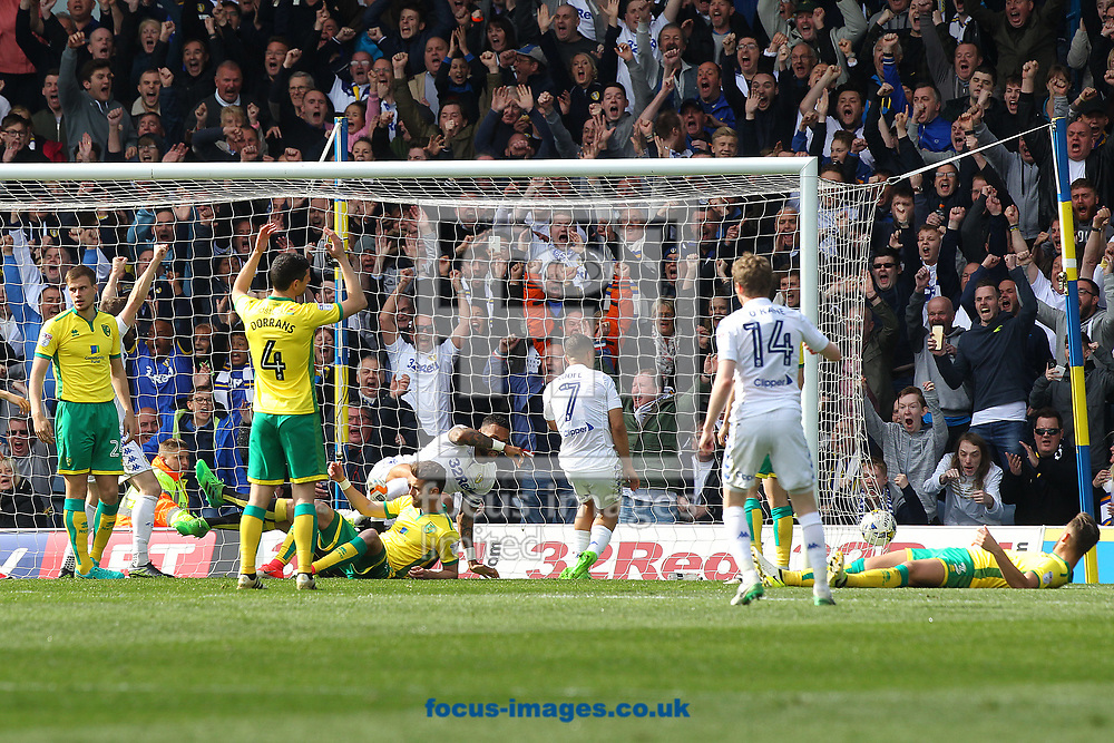 Kyle Bartley of Leeds United bundles the ball over the line to score his side's 2nd goal during the Sky Bet Championship match at Elland Road, Leeds<br /> Picture by Paul Chesterton/Focus Images Ltd +44 7904 640267<br /> 29/04/2017