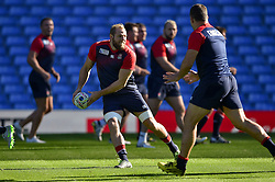 James Haskell of England passes the ball - Mandatory byline: Patrick Khachfe/JMP - 07966 386802 - 09/10/2015 - RUGBY UNION - Manchester City Stadium - Manchester, England - England Captain's Run - Rugby World Cup 2015.