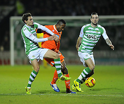 Yeovil Town's Edward Upson and Yeovil Town's Shane Duffy battles for the ball with Blackpool's Ricardo Fuller - Photo mandatory by-line: Joe Meredith/JMP - Tel: Mobile: 07966 386802 03/12/2013 - SPORT - Football - Yeovil - Huish Park - Yeovil Town v Blackpool - Sky Bet Championship