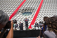 Eli Broad speaks during the civic dedication at The Broad on September 18, 2015 in downtown Los Angeles.  The Broad, the contemporary art museum built to house the 2,000-piece collection acquired over decades by billionaire philanthropist Eli Broad and his wife, Edye. (Photo by Ringo Chiu/PHOTOFORMULA.com)