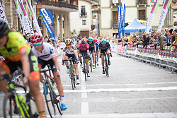 Nikola Noskova (CZE) of BePink Cycling Team and Ann-Sophie Duyck (BEL) of Drops Cycling Team roll in with the first group on Stage 3 of the Emakumeen Bira - a 77.6 km road race, starting and finishing in Antzuola on May 19, 2017, in Basque Country, Spain. (Photo by Balint Hamvas/Velofocus)