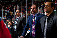 KELOWNA, CANADA - NOVEMBER 17: Kelowna Rockets' assistant coach Kris Mallette stands on the bench next to head coach Jason Smith and assistant coach Travis Crickard against the Lethbridge Hurricanes on November 17, 2017 at Prospera Place in Kelowna, British Columbia, Canada.  (Photo by Marissa Baecker/Shoot the Breeze)  *** Local Caption ***