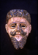 GUATEMALA, FOLKART Alvarado mask 18th-19thC used in 'Dance of the Conquest'(Alvarado was Spanish leader); painted wood