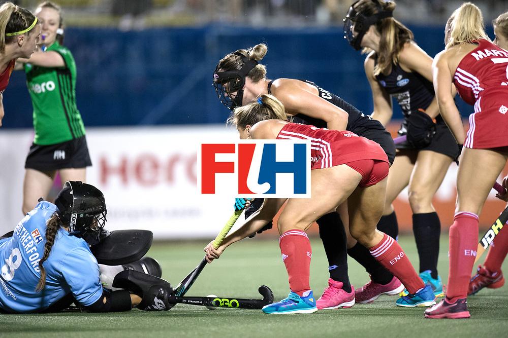 AUCKLAND - Sentinel Hockey World League final women<br /> Match id: 10310<br /> 20 ENG v NZL (Semi Final) 0-1<br /> New Zealand play the final<br /> Foto:  Sally Rutherford (Gk) stops Suzy Petty <br /> WORLDSPORTPICS COPYRIGHT FRANK UIJLENBROEK
