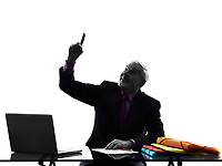 One Caucasian Senior Business Man Pointing Up Silhouette White Background