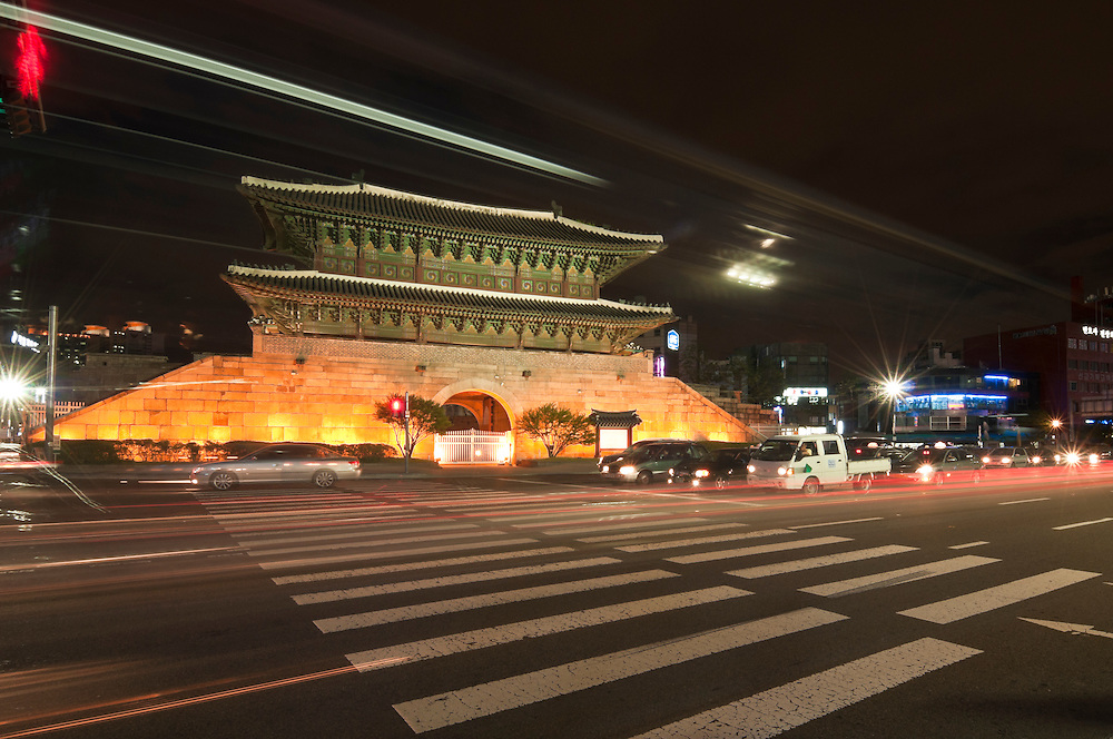 Dongdaemun Gate at night, Seoul, South Korea