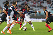 SYDNEY, AUSTRALIA - APRIL 27: Melbourne Victory forward Elvis Kamsoba (24) controls the ball at round 27 of the Hyundai A-League Soccer between Western Sydney Wanderers FC and Melbourne Victory on April 27, 2019 at ANZ Stadium in Sydney, Australia. (Photo by Speed Media/Icon Sportswire)