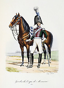 Mounted officer Royal of the bodyguard of the heir to the throne, 1814.  From 'Histoire de la maison militaire du Roi de 1814 a 1830' by Eugene Titeux, Paris, 1890.