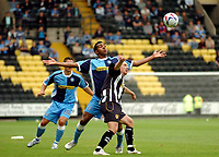 Photo: Leigh Quinnell.<br /> Notts County v Wycombe Wanderers. Coca Cola League 2. 12/08/2006. Wycombes Kevin Betsey waits for the ball to drop with Notts Countys Andy Parkinson.