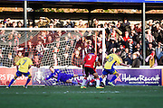 Accrington Stanley forward Billy Kee (29) scores a goal from open play to make it 0-2 to Accrington Stanley during the The FA Cup match between Woking and Accrington Stanley at the Kingfield Stadium, Woking, United Kingdom on 4 December 2016. Photo by David Charbit.