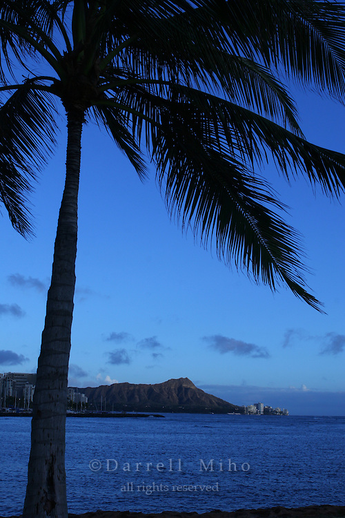 Feb 25, 2007; Honolulu, HI - A view of Diamond Head with white puffy clouds taken from Ala Moana Beach Park...Photo credit: Darrell Miho