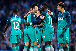 Son Heung-Min of Tottenham Hotspur celebrates with teammates after scoring a goal to make it 2-1 - Mandatory by-line: Robbie Stephenson/JMP - 17/04/2019 - FOOTBALL - Etihad Stadium - Manchester, England - Manchester City v Tottenham Hotspur - UEFA Champions League Quarter Final 2nd Leg
