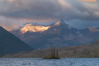 Fusillade Mountain and Wild Goose Island at sunrise Saint Mary Lake Glacier National Park