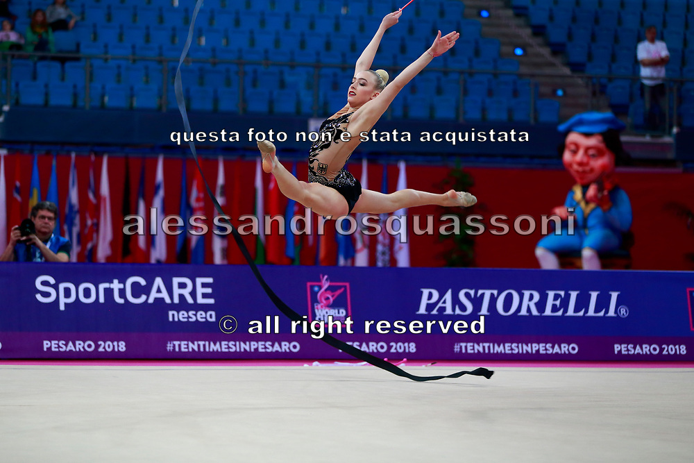 Tkaltschewitsch Lea during qualification at the ribbon inPesaro World Cup in 2018. Lea was born in Offenbach in main Germany in 2001. Her dream is to  compete at the 2020 Olympic Games in Tokyo.