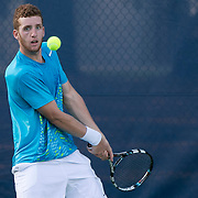 August 15, 2014, New Haven, CT:<br /> Maxx Lipman hits a backhand during a US Open National Playoff match against Samuel Shropshire during the 2014 Connecticut Open at the Yale University Tennis Center in New Haven, Connecticut Friday, August 15, 2014.<br /> (Photo by Billie Weiss/Connecticut Open)