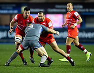 Ellis Genge of Leicester Tigers under pressure from Scott Andrews of Cardiff Blues<br /> <br /> Photographer Simon King/Replay Images<br /> <br /> European Rugby Challenge Cup Round 2 - Cardiff Blues v Leicester Tigers - Saturday 23rd November 2019 - Cardiff Arms Park - Cardiff<br /> <br /> World Copyright © Replay Images . All rights reserved. info@replayimages.co.uk - http://replayimages.co.uk