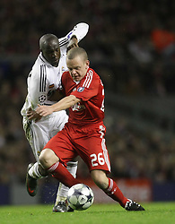 Jay Spearing goes past Lassana Diarra..Uefa Champions League, First knock-out round, second leg..Liverpool v Real Madrid..Anfield..10.03.09.