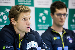 Blaz Rola and Miha Mlakar of Slovenia at press conference during the Day 1 of Davis Cup 2018 Europe/Africa zone Group II between Slovenia and Poland, on February 3, 2018 in Arena Lukna, Maribor, Slovenia. Photo by Vid Ponikvar / Sportida