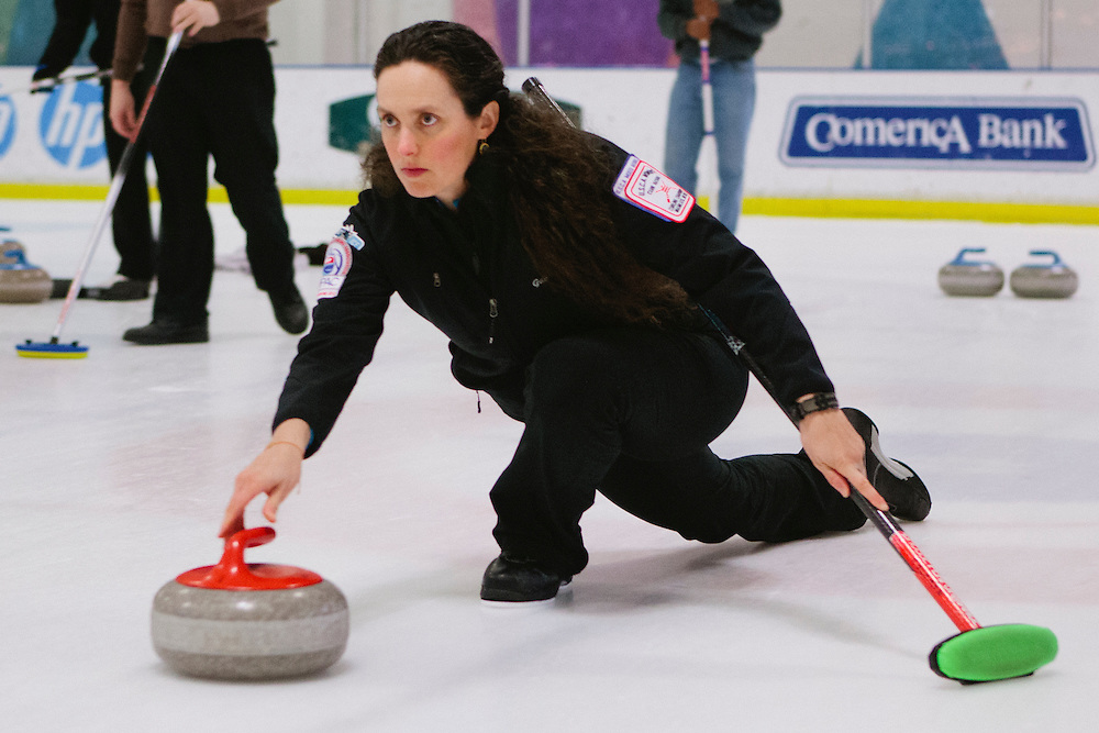 Gabrielle Coleman of Mountain View delivers during the San Francisco Bay Area Curling Club's Tuesday night league at Sharks Ice in San Jose on Jan.15, 2013.