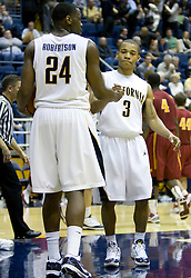 January 9, 2010; Berkeley, CA, USA;  California Golden Bears guard Jerome Randle (3) celebrates with forward Theo Robertson (24) after the game against the Southern California Trojans at the Haas Pavilion.  California defeated USC 67-59.
