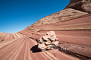 Colorful sandstone cliffs in the Boneyard region of North Coyote Buttes.