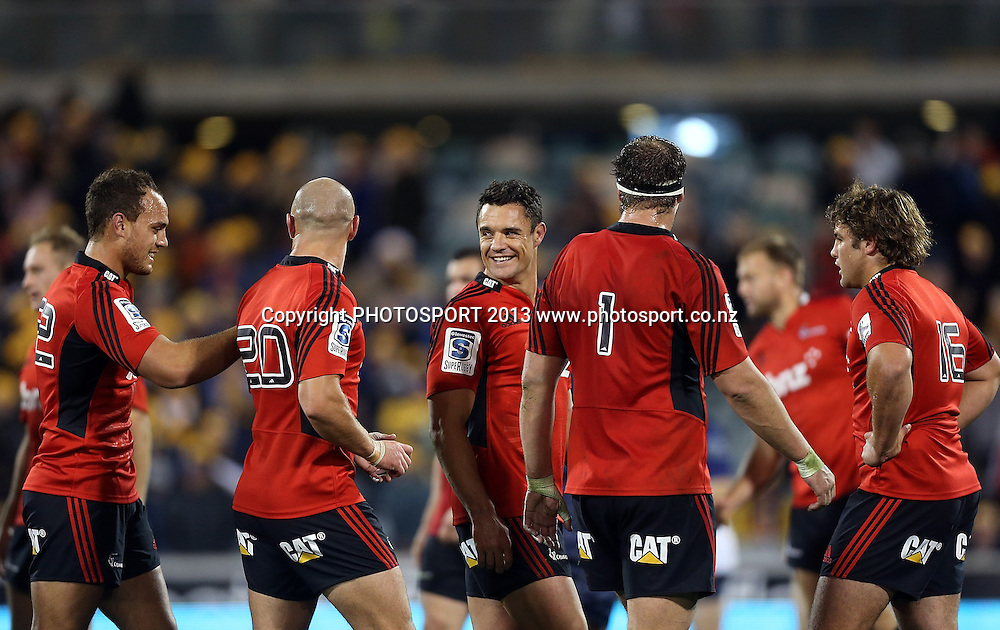 Crusaders players celebrate victory.  Brumbies v Crusaders. 2013 Investec Super Rugby Season. Canberra Stadium, Canberra, Australia.  Sunday 5 May 2013. Photo: Mark Metcalfe/Photosport.co.nz