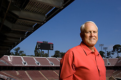 Bill Walsh in front of the new Stanford Stadium.