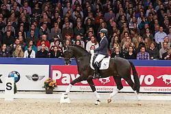 Jansen Lotte (NED) - Dark President D&R<br /> KWPN Stallion Selection - 's Hertogenbosch 2014<br /> © Dirk Caremans