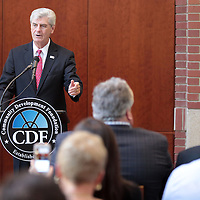 Adam Robison | BUY AT PHOTOS.DJOURNAL.COM<br /> Phil Bryant, Mississippi Governor, announces Southern Motion's move into the old Hancock Fabrics building in Baldwyn and the creation of 600 jobs over five years on Wednesday afternoon.